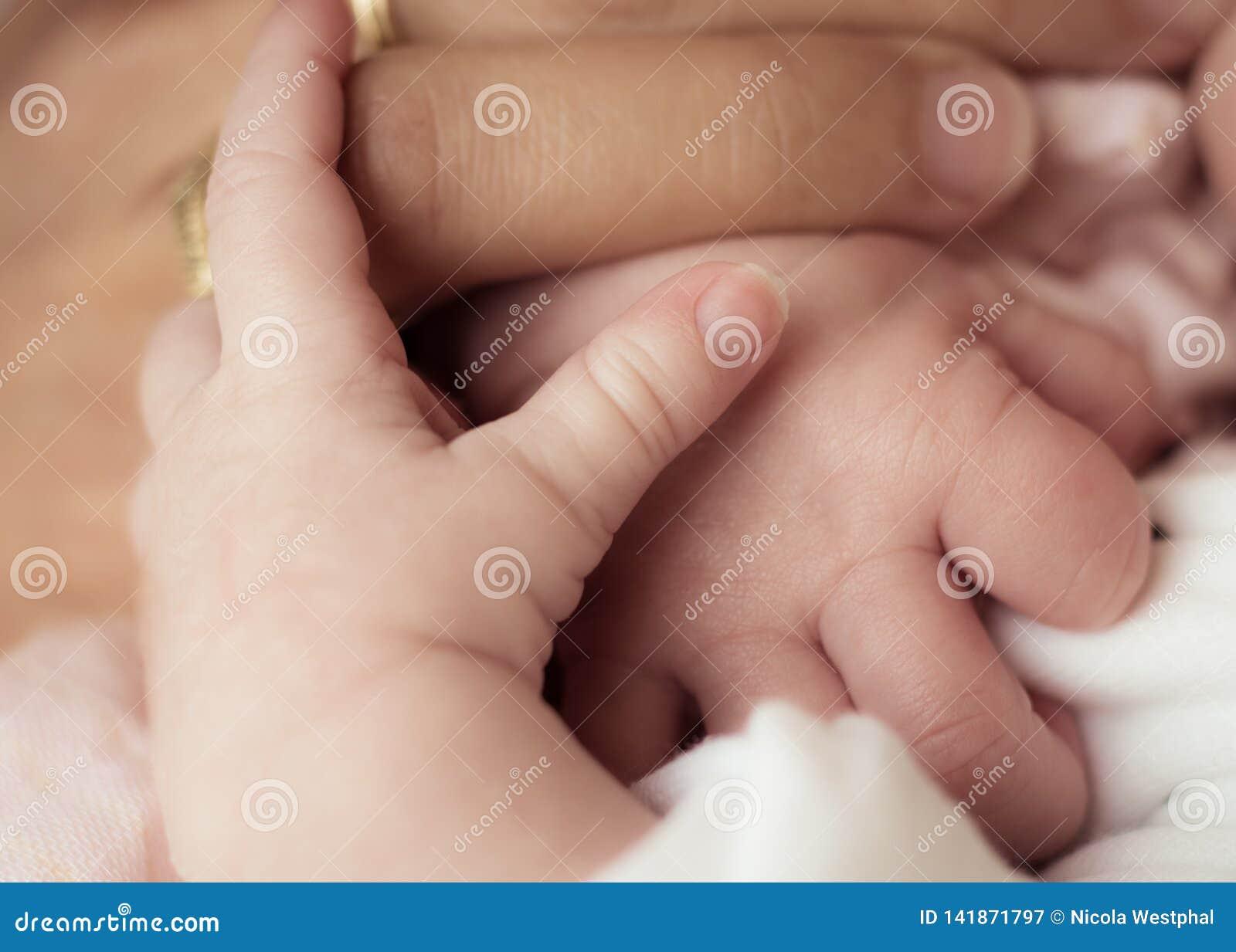 Moeder en Nieuwe - geboren baby - holdingshanden
