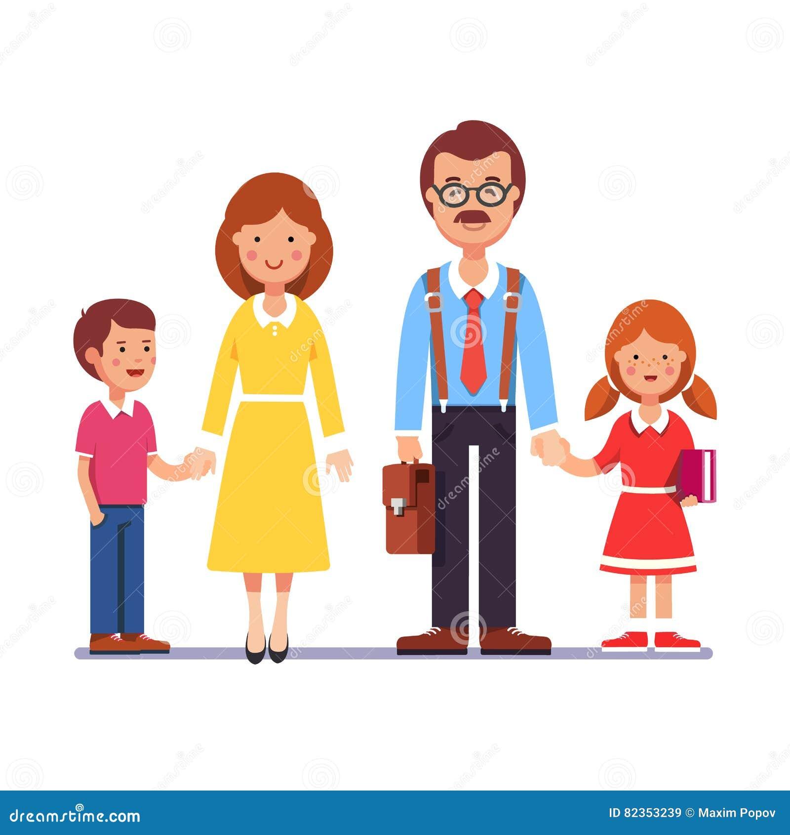 Moeder en vader met hun kinderen