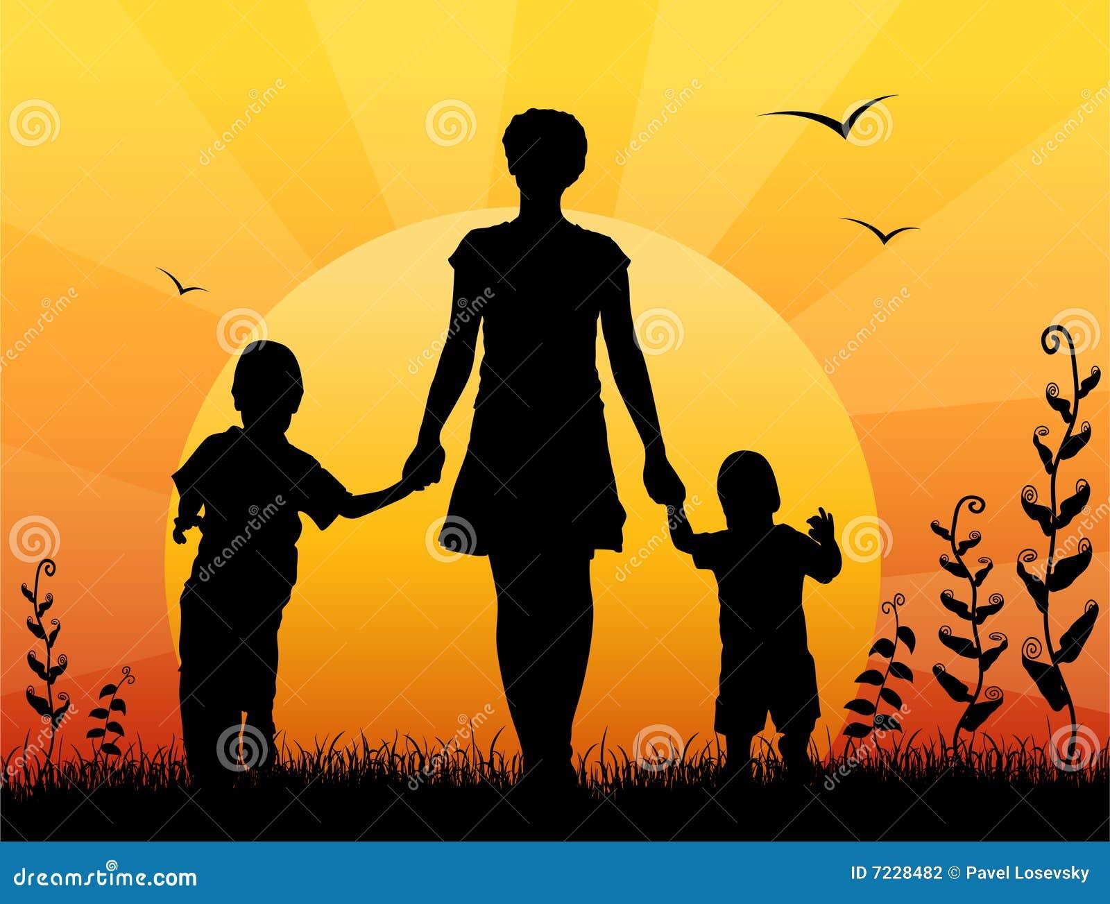 Moeder met de vector van de kinderenzonsondergang