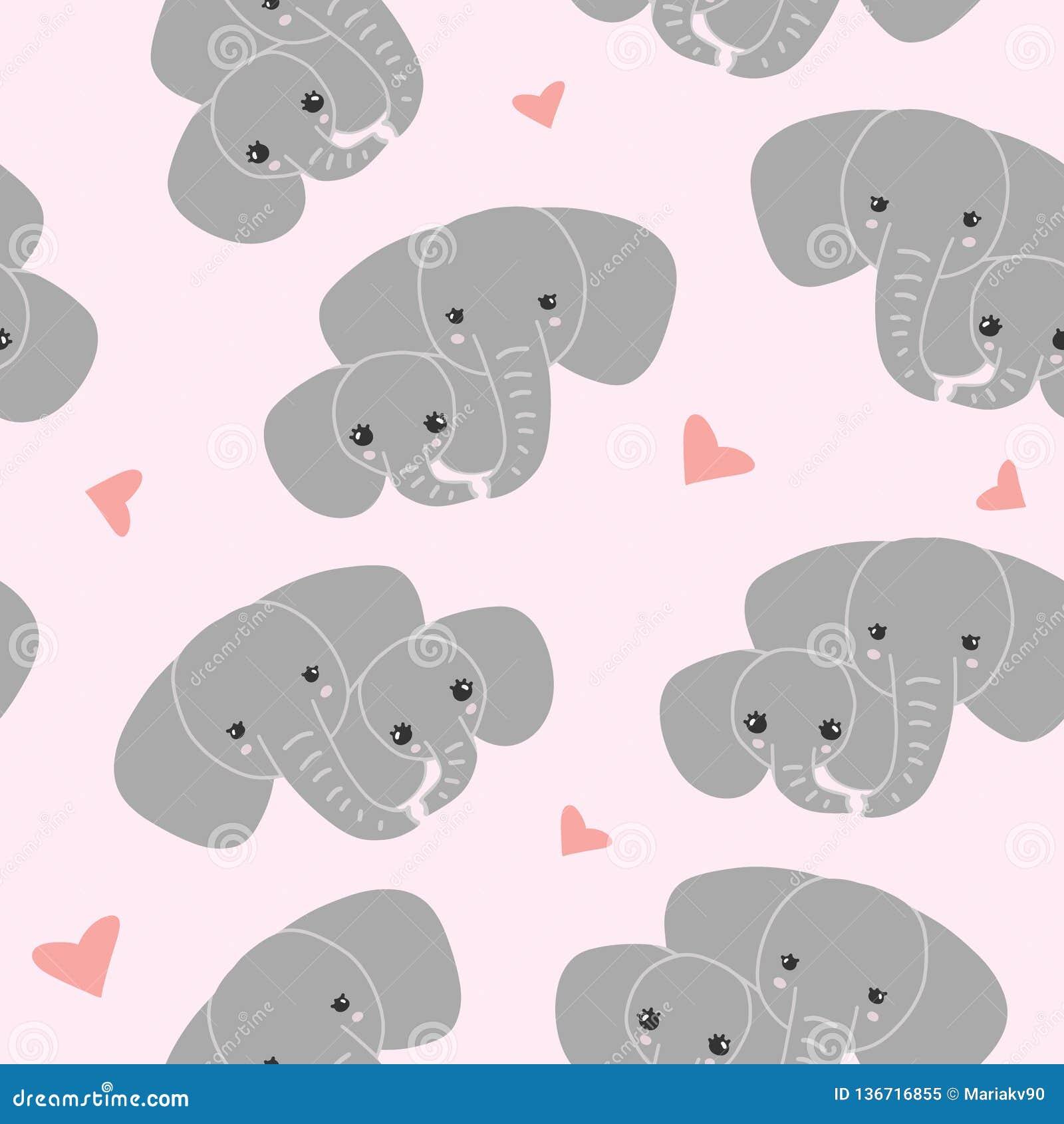 Moederolifant met jong geitje op roze achtergrond Patroon van olifantsfamilie