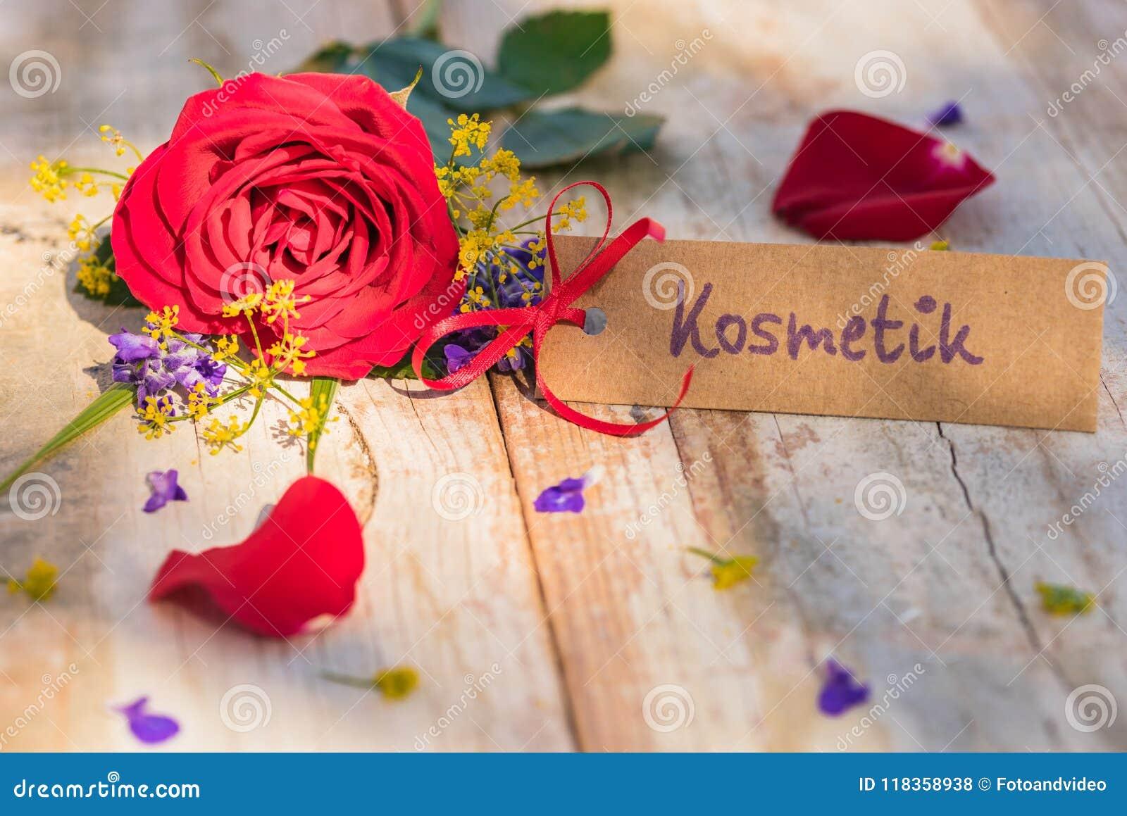 Moedersdag of van de Valentijnskaartendag de giftkaart, de bon of de coupon met Duits woord, Kostmetik, betekenen schoonheidsmidd