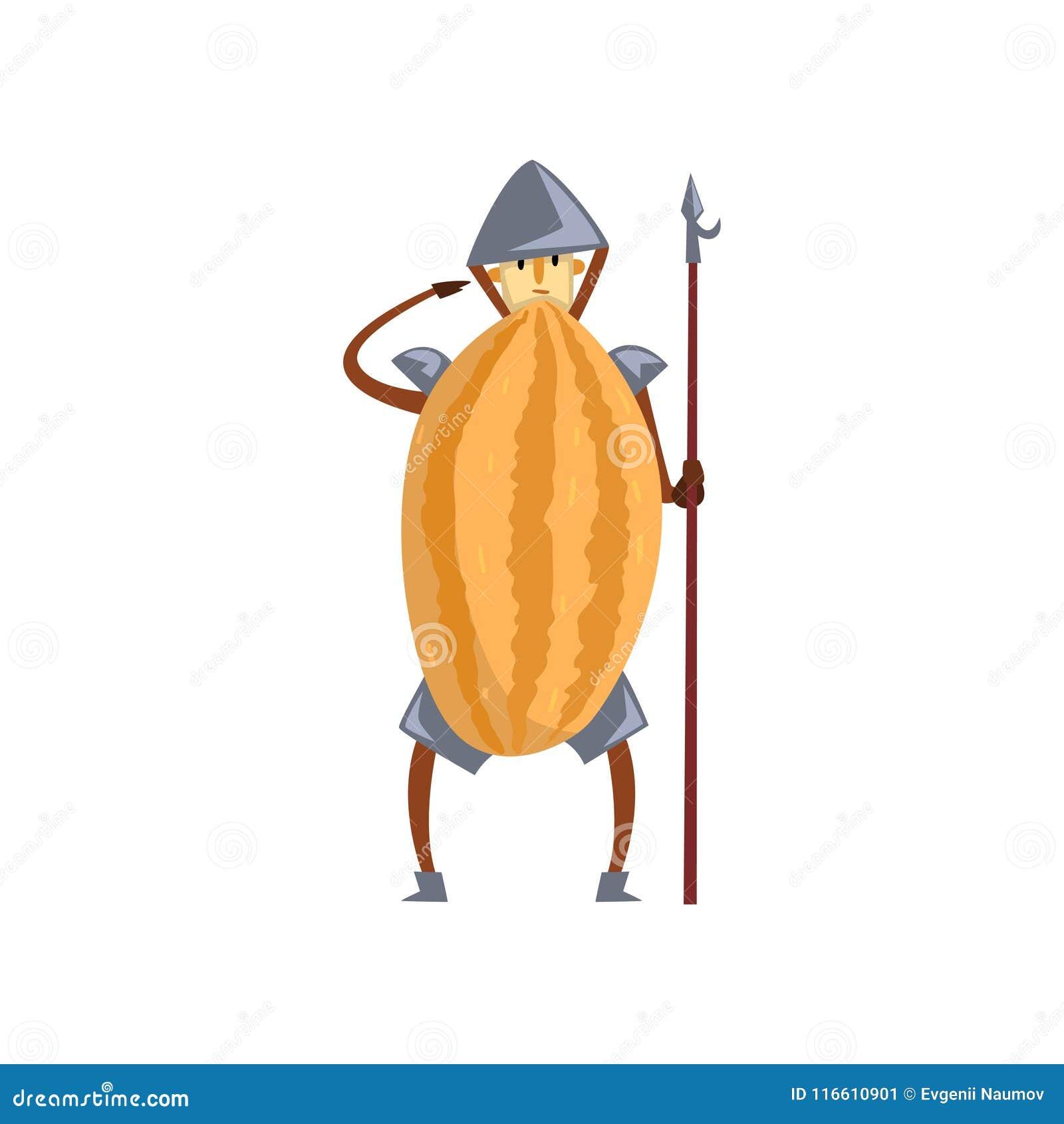 Moedig het beeldverhaalkarakter van de strijdersmeloen met spear, mens in de vectorillustratie van het fruitkostuum op een witte