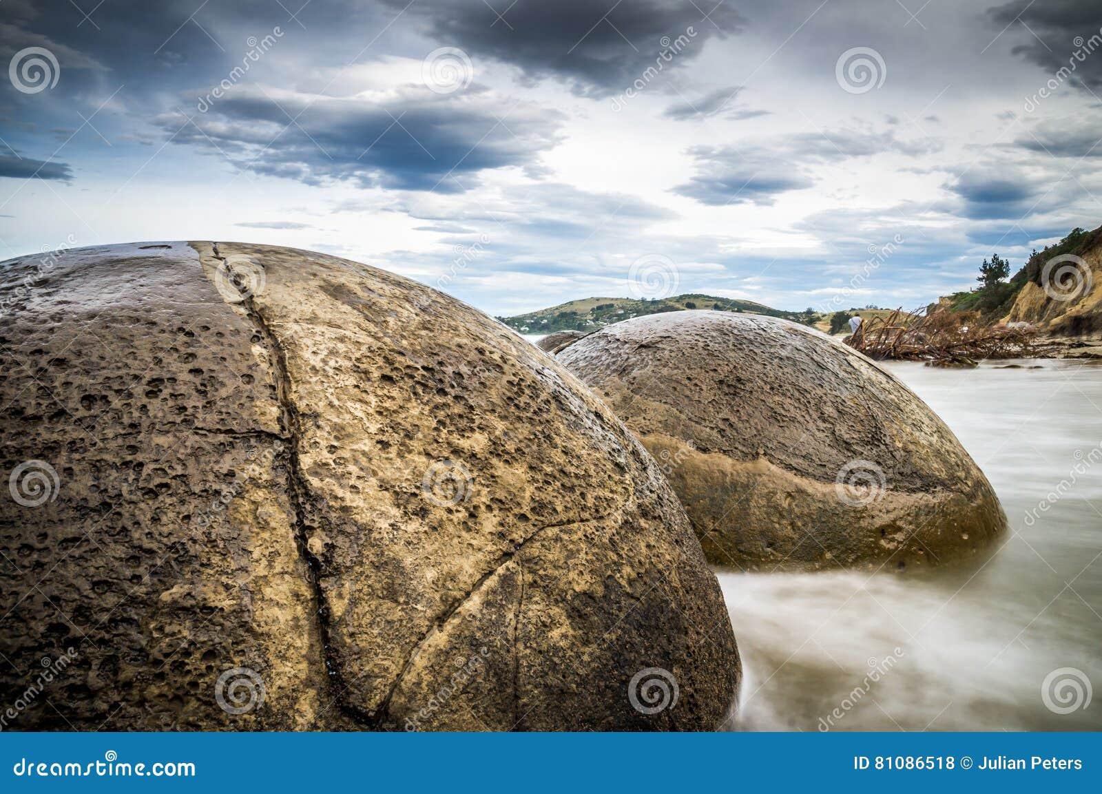 Moeraki-Flussstein-Nahaufnahmelangbelichtung