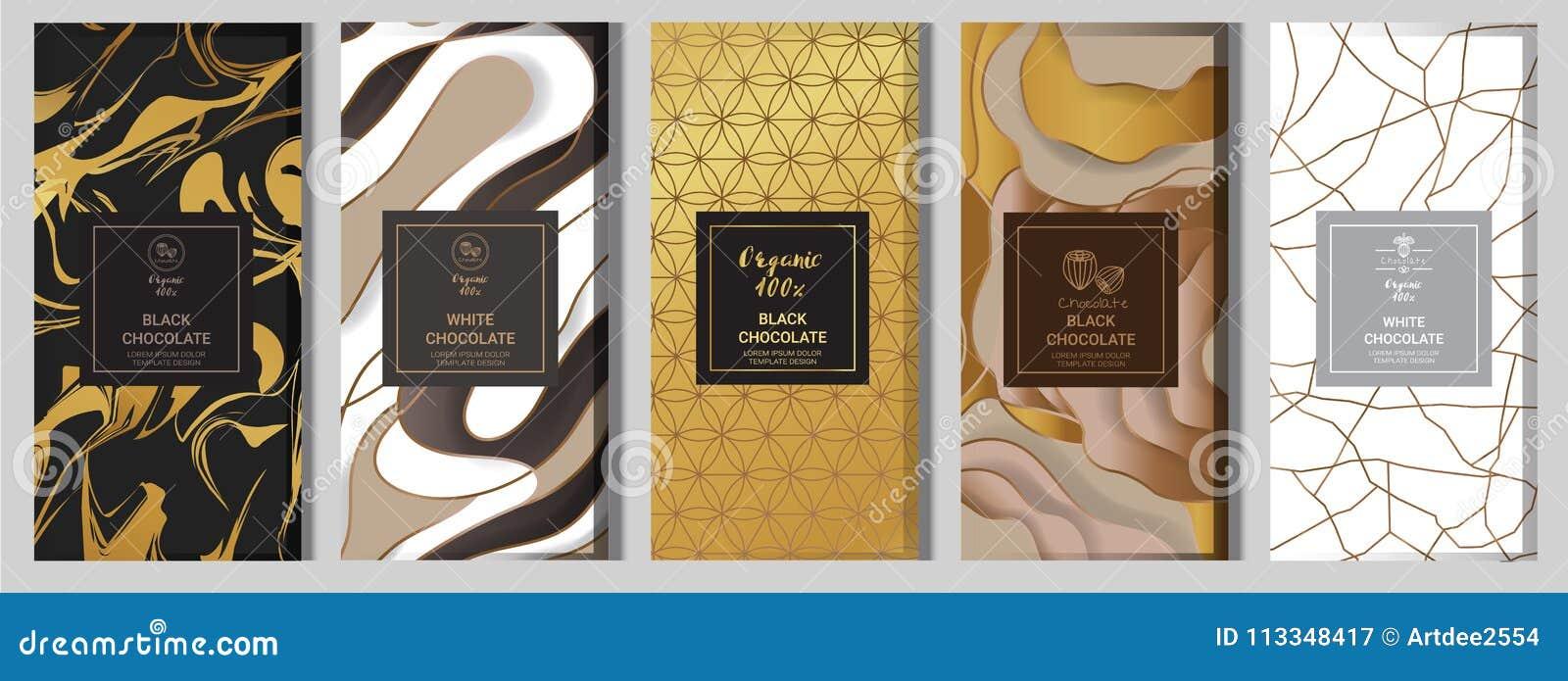 Mofa de empaquetado de la barra de chocolate instalada elementos, etiquetas, icono, marcos
