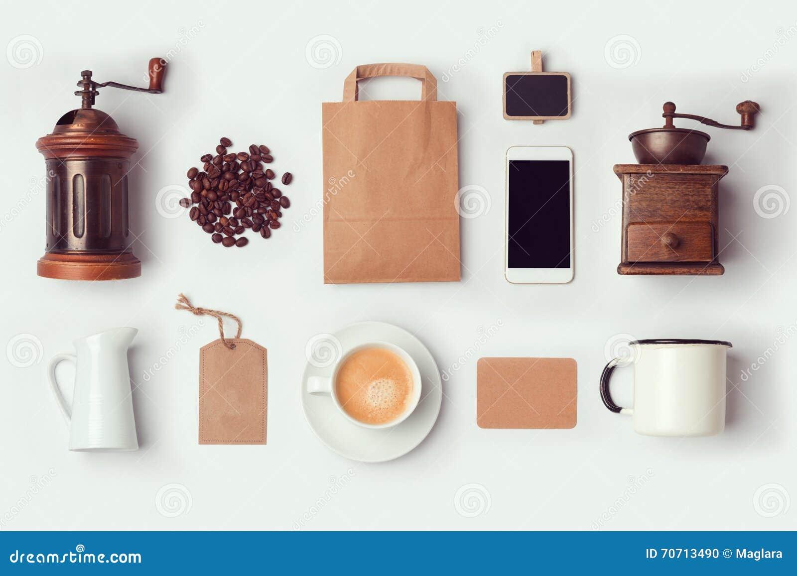 Mofa de la cafetería encima de la plantilla para el diseño de la identidad de marcado en caliente Endecha plana