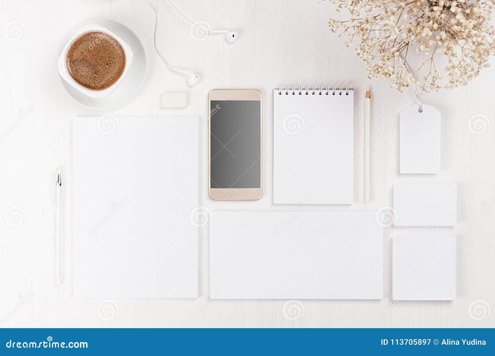 Mofa de marcado en caliente del negocio para arriba del sistema en blanco blanco de los efectos de escritorio, teléfono, flores,