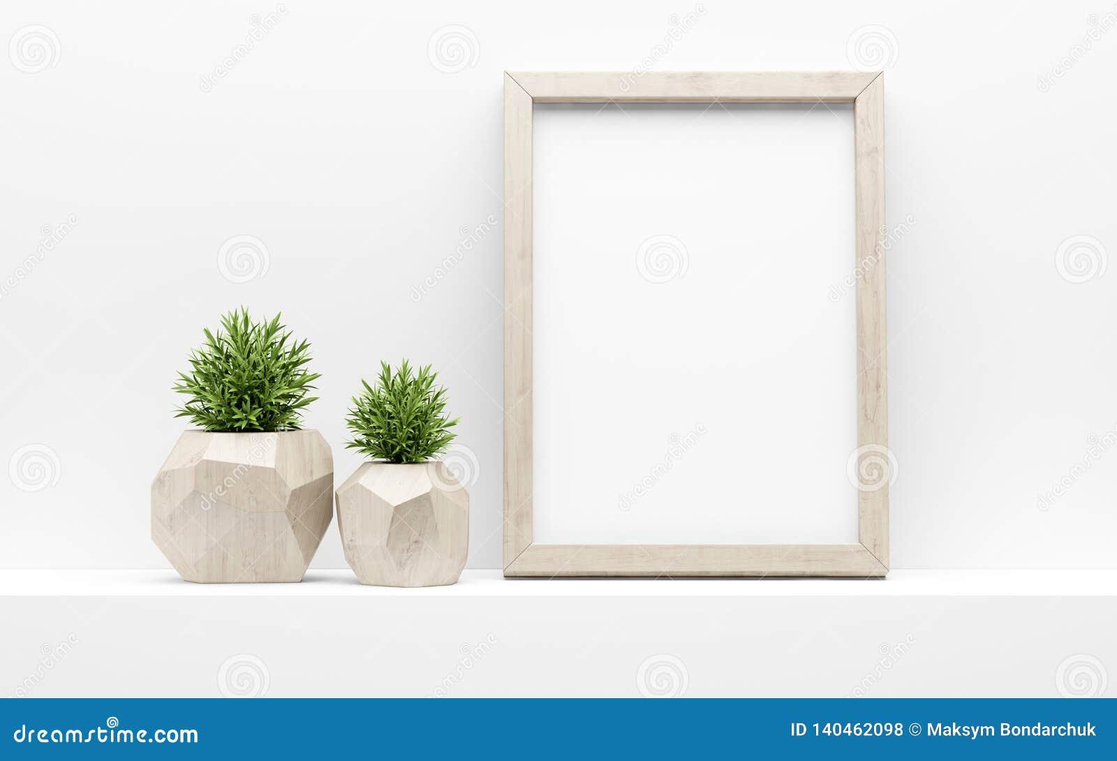 Mofa del marco para arriba y plantas en conserva verdes en el estante blanco ilustración 3D