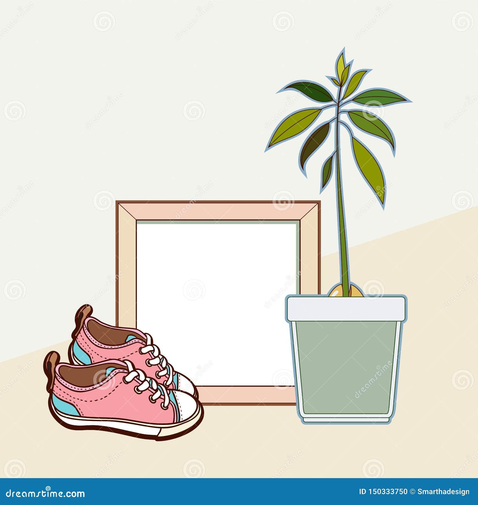 Mofa del vector encima del marco de madera, de las zapatillas de deporte y de la planta del aguacate Maqueta cuadrada casera inte