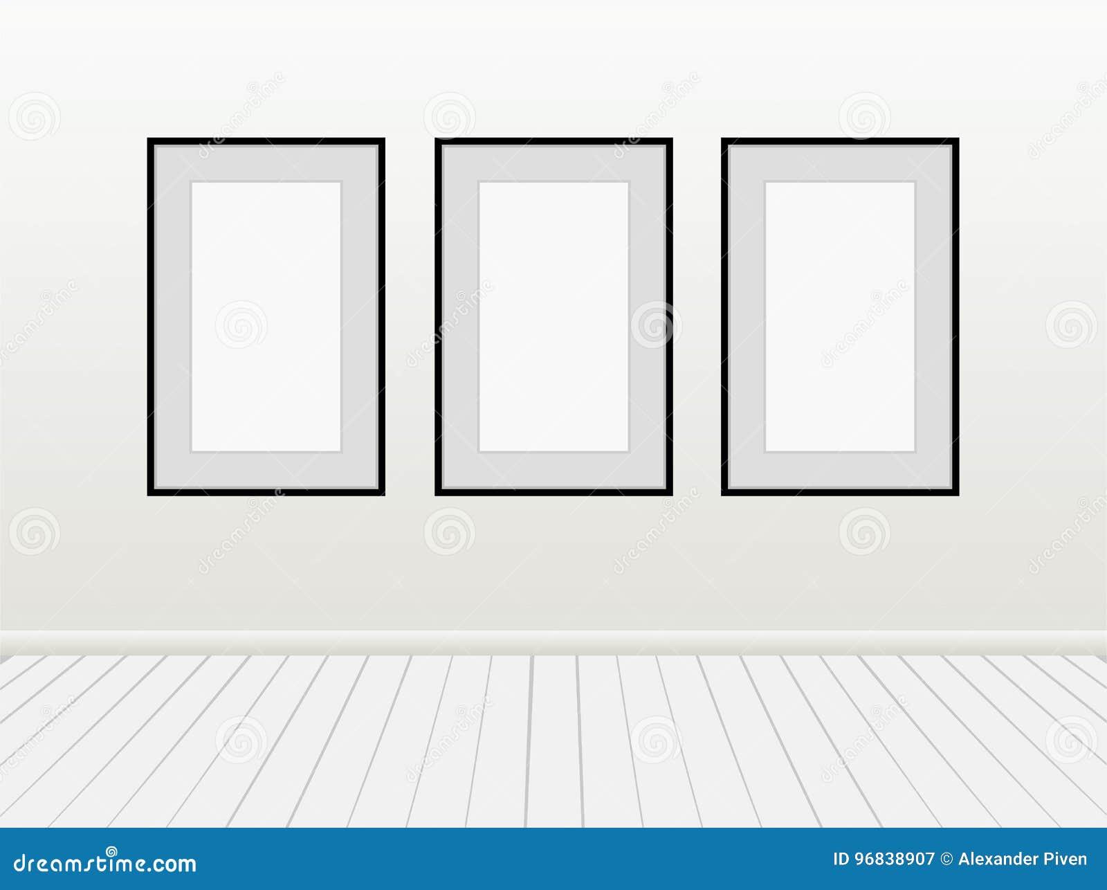 Mofa en blanco vacía del blanco de tres vectores encima de marcos del negro de imágenes de los carteles en una pared