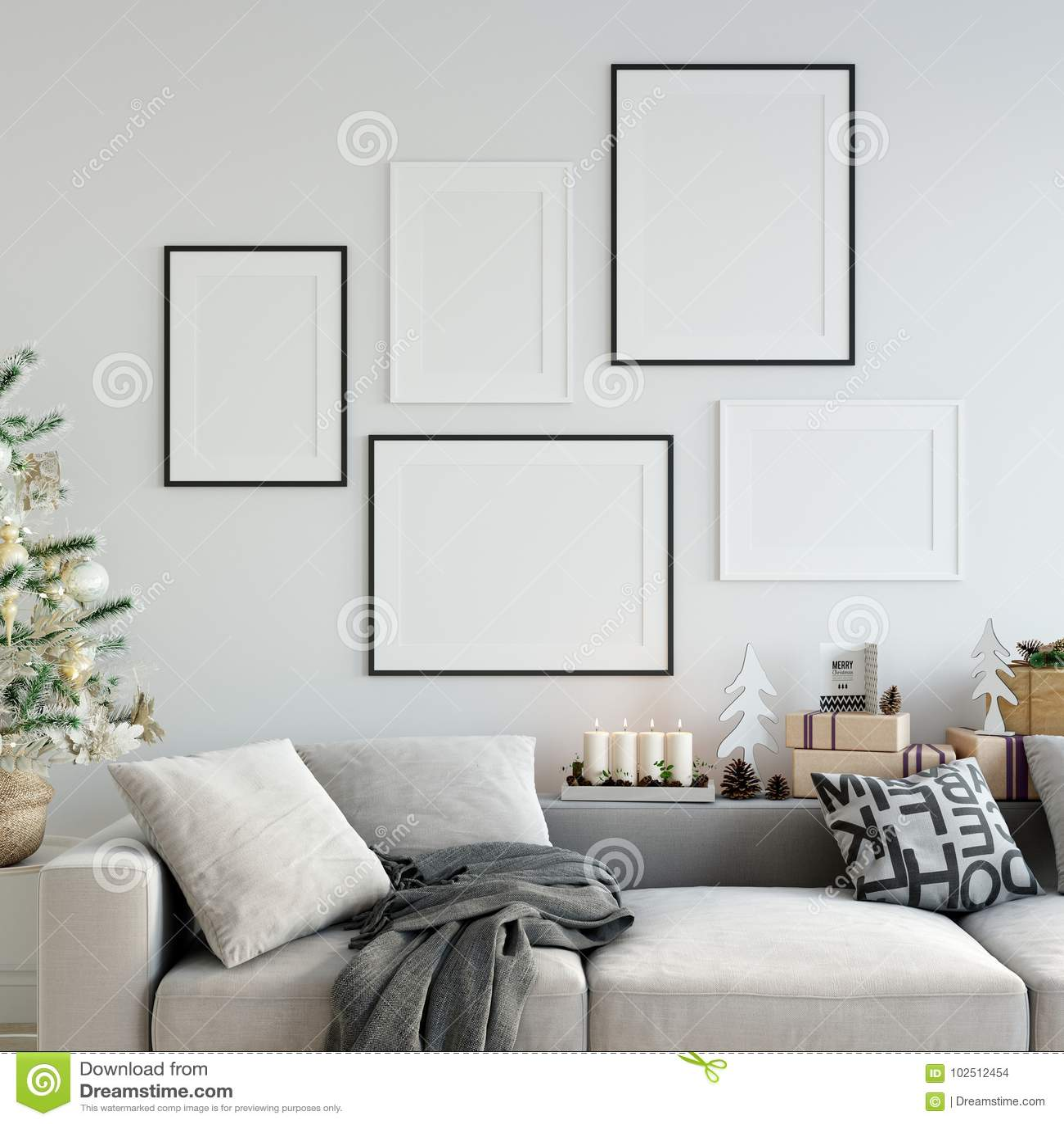 Mofa encima de los carteles en interior de la Navidad de la sala de estar Estilo escandinavo interior 3D representación, ejemplo