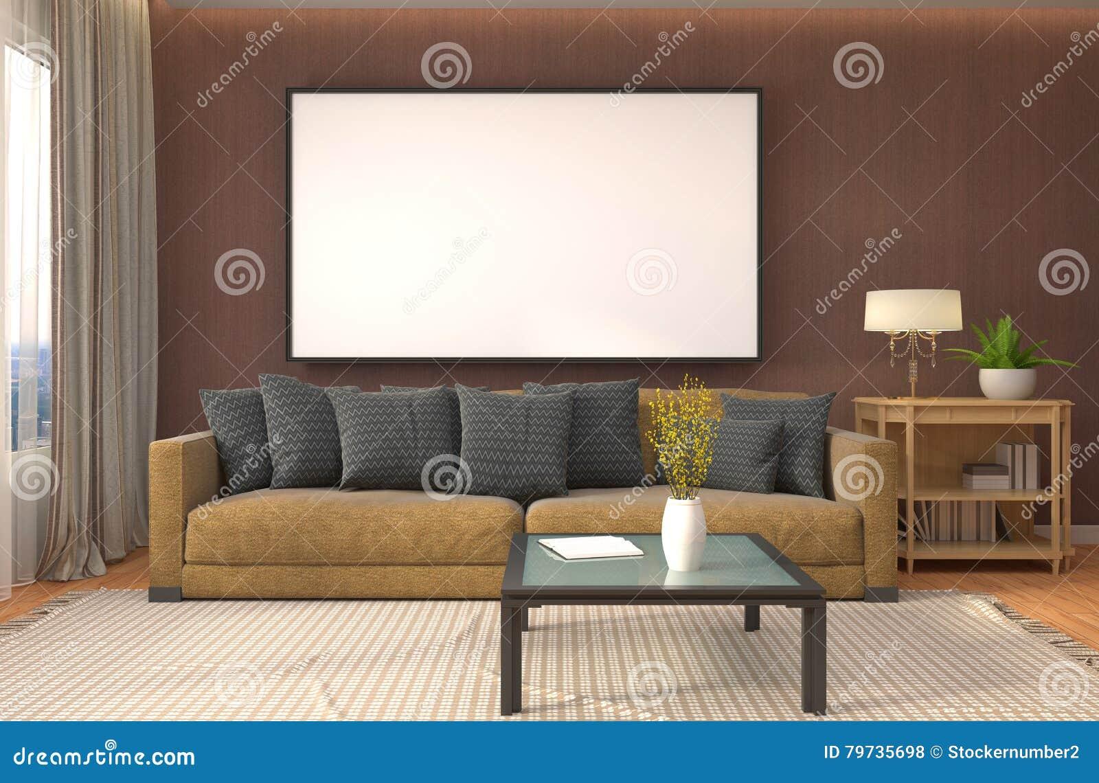 Mofa encima del marco del cartel en fondo interior ilustración 3D