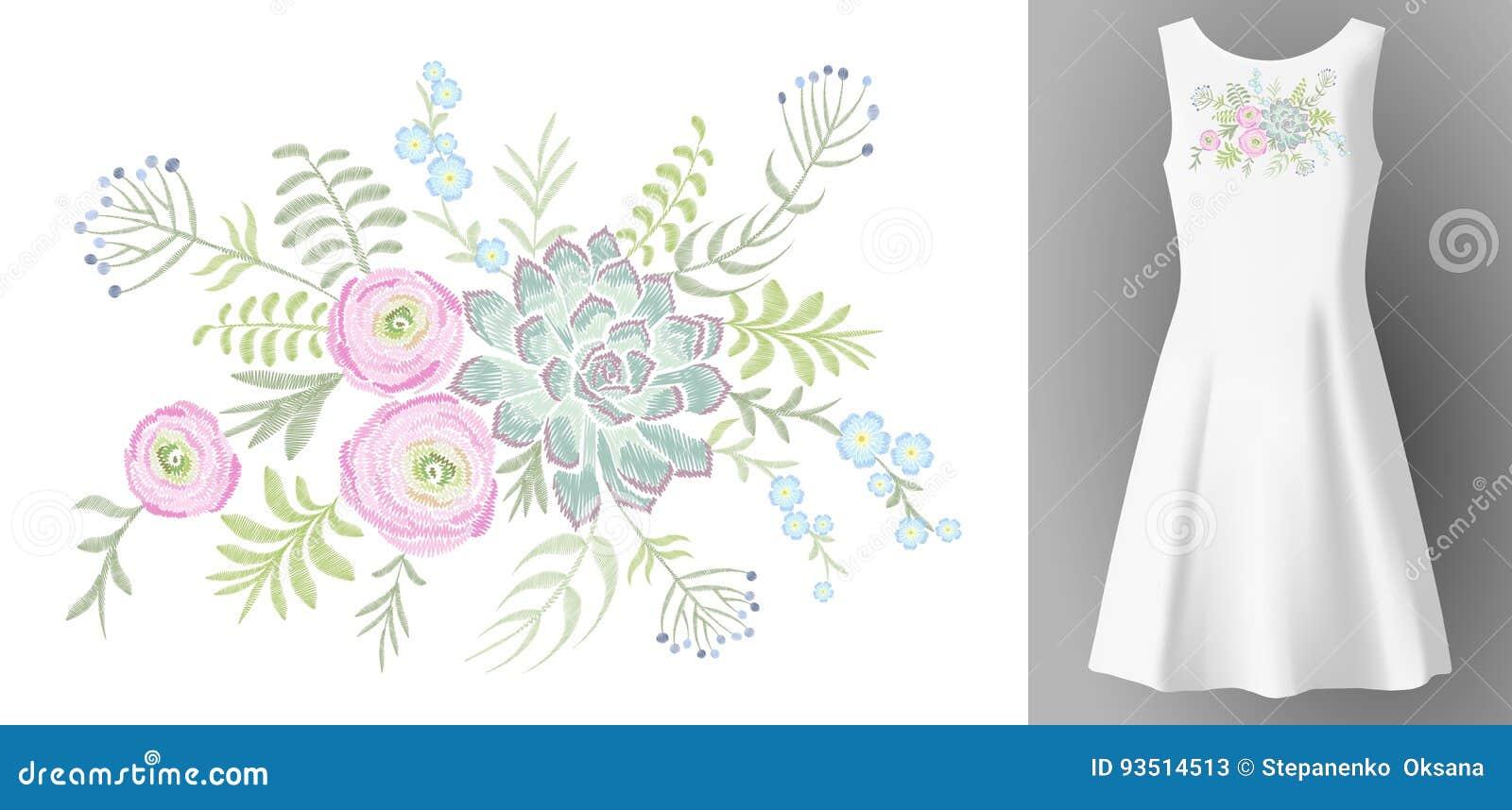 Mofa realista blanca del vestido 3d de la mujer encima de la decoración de la moda del bordado de flores Escote suculento del rem