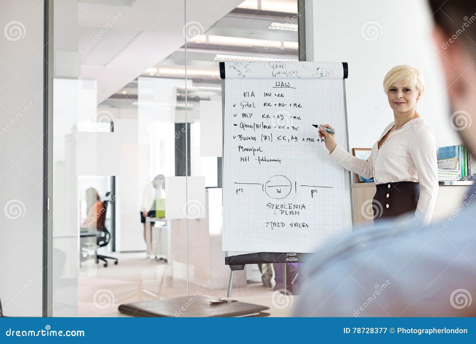 Mogen affärskvinna som ger presentation genom att använda flipchart i bräderum