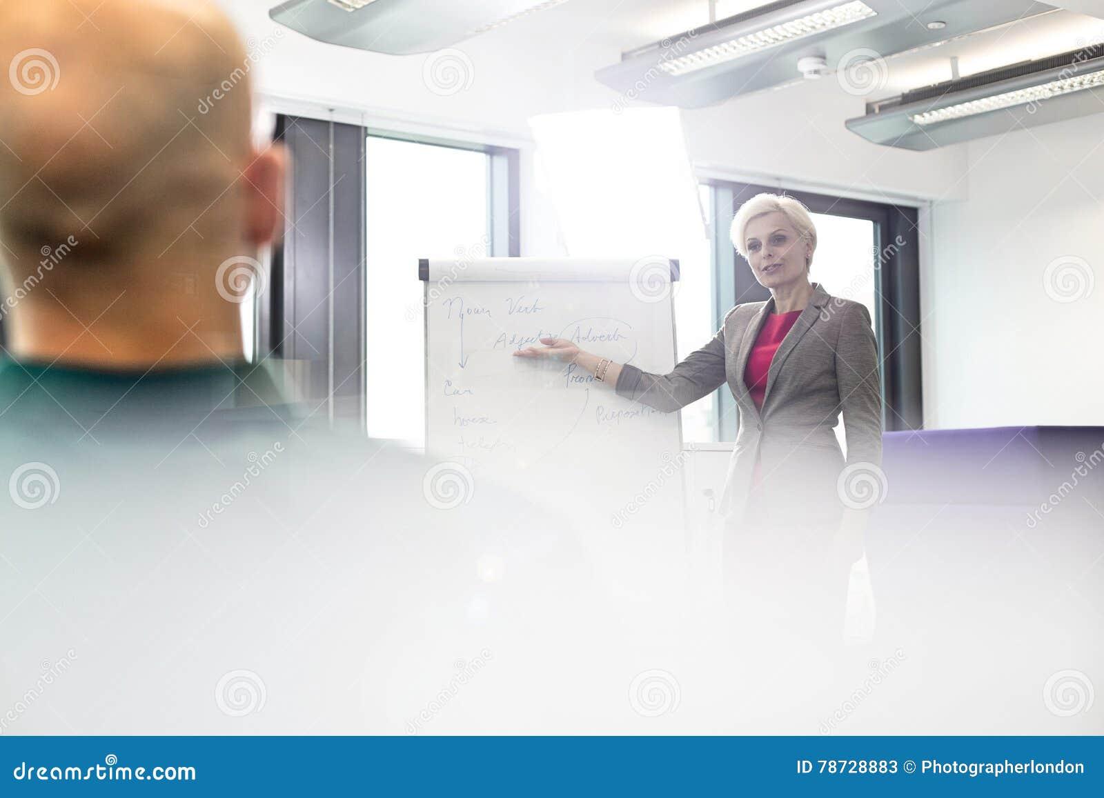 Mogen affärskvinna som ger presentation till den manliga kollegan i bräderum
