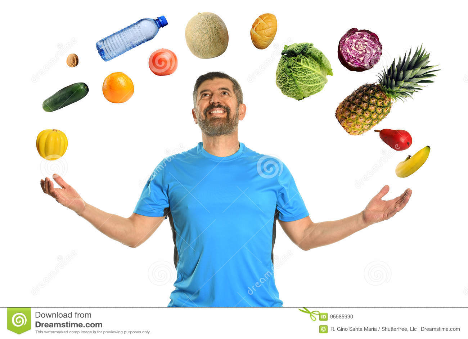 Mogen man som jonglerar mat