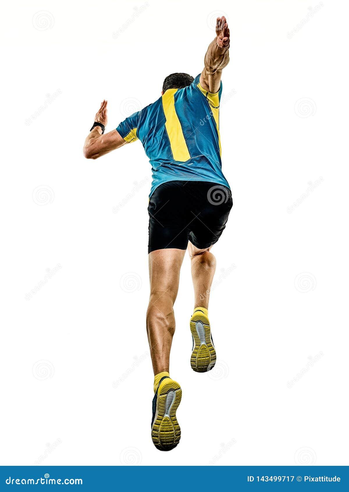Mogen manspringlöpare som joggar jogger isolerad vit bakgrund