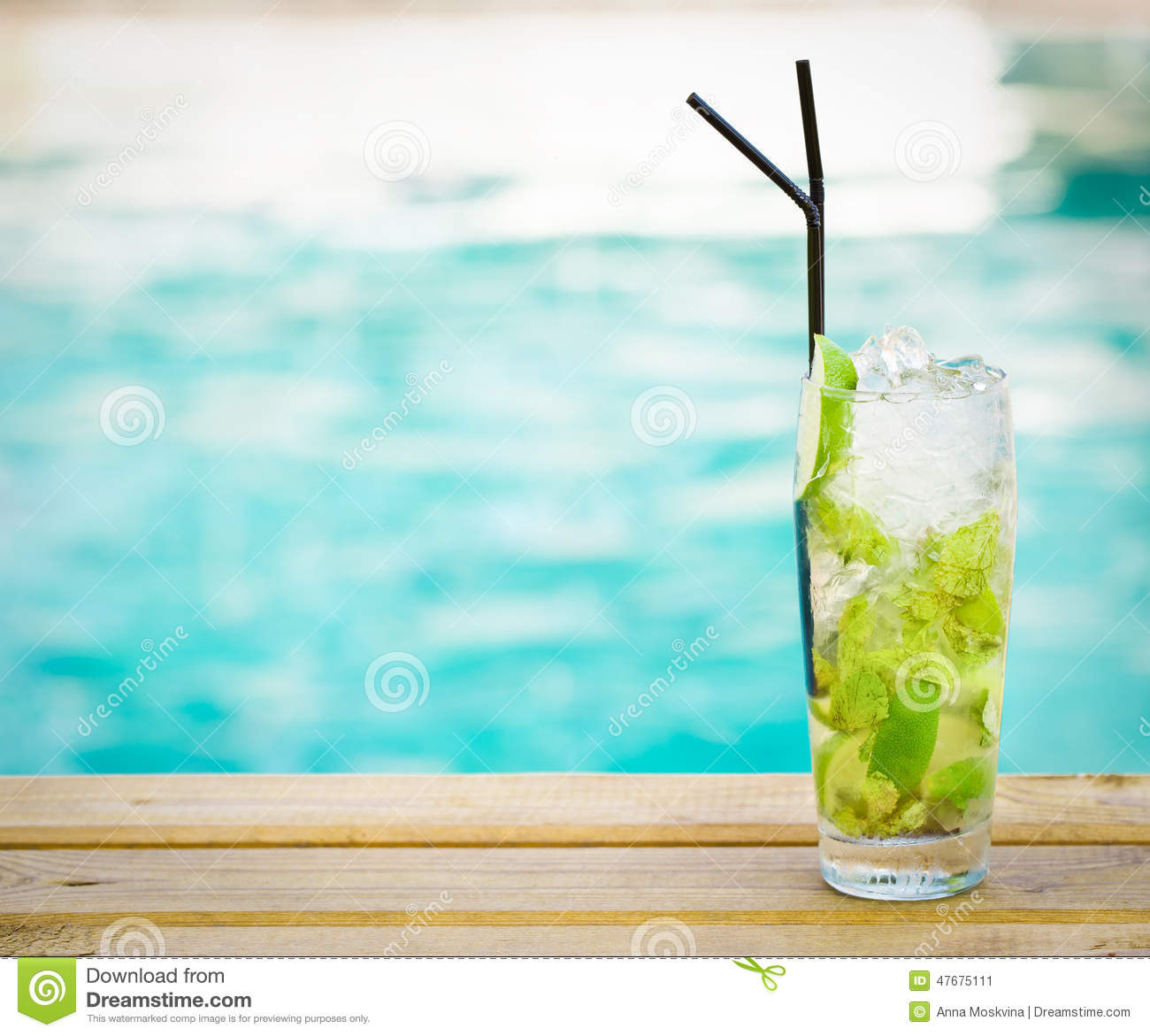 Mohito Mojito Drink With Ice Mint Lime Near Swimming Pool Stock Photo Image 47675111