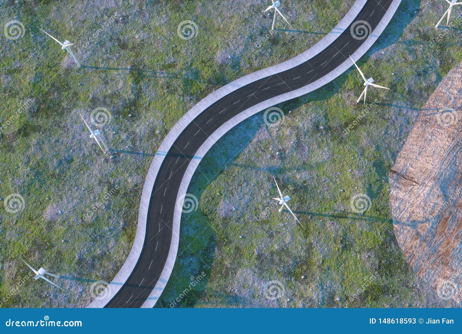 Moinhos de vento e estrada de enrolamento no aberto, rendi??o 3d