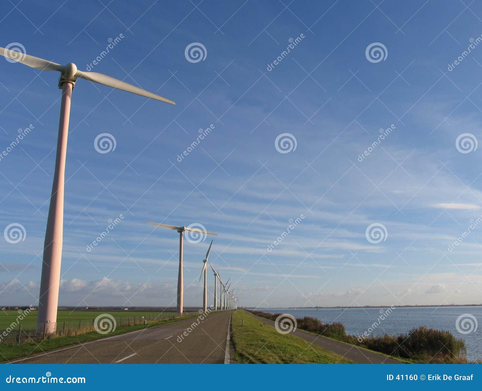 Moinhos de vento na paisagem holandesa
