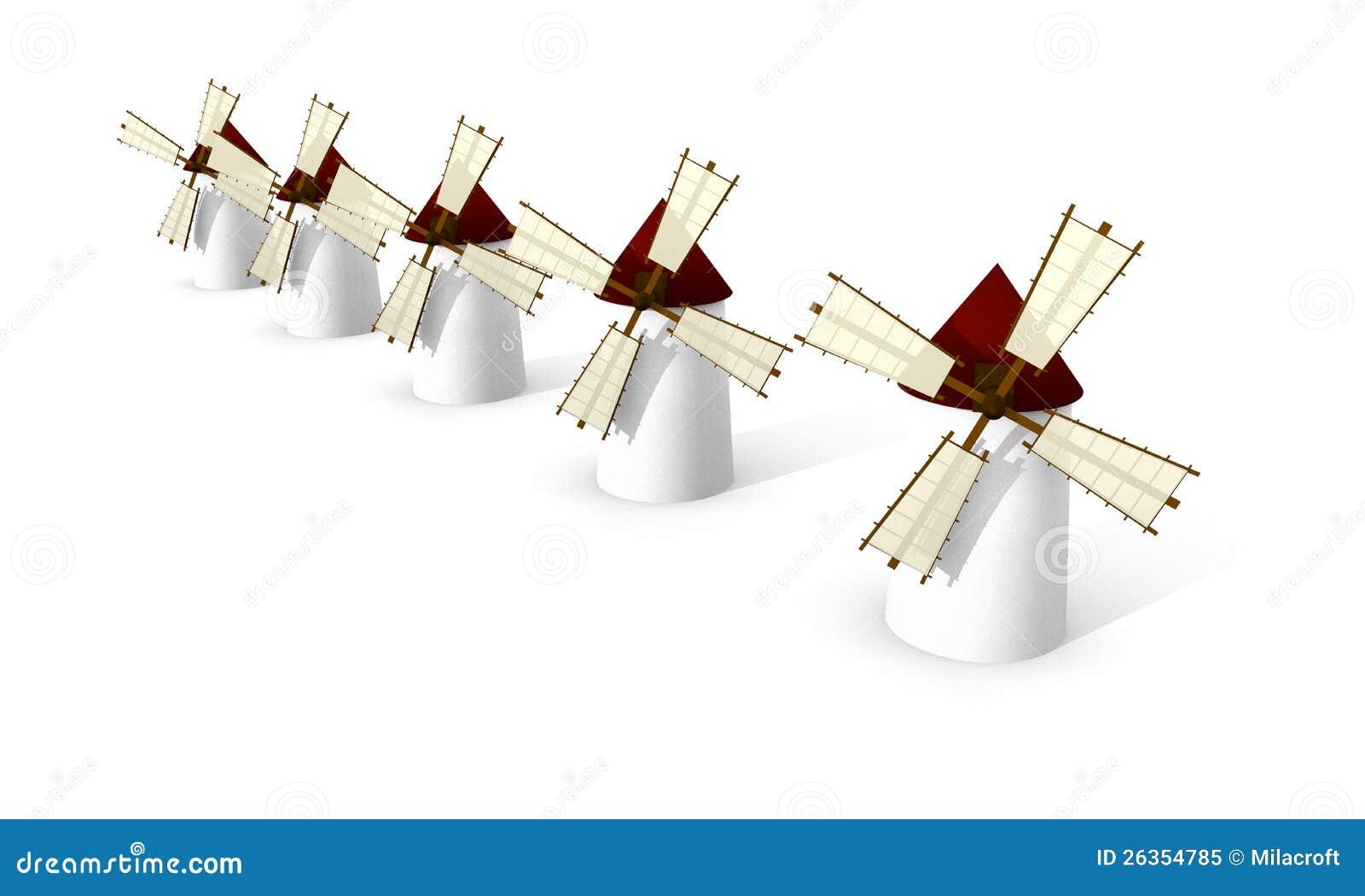 Moinhos de vento no fundo branco