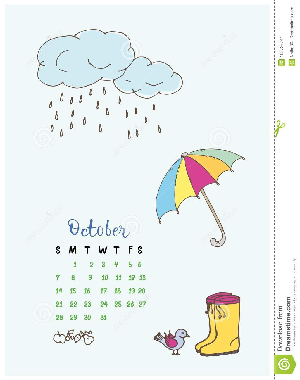 mois calendrier en octobre 2018 parapluie et bottes illustration de vecteur illustration du. Black Bedroom Furniture Sets. Home Design Ideas