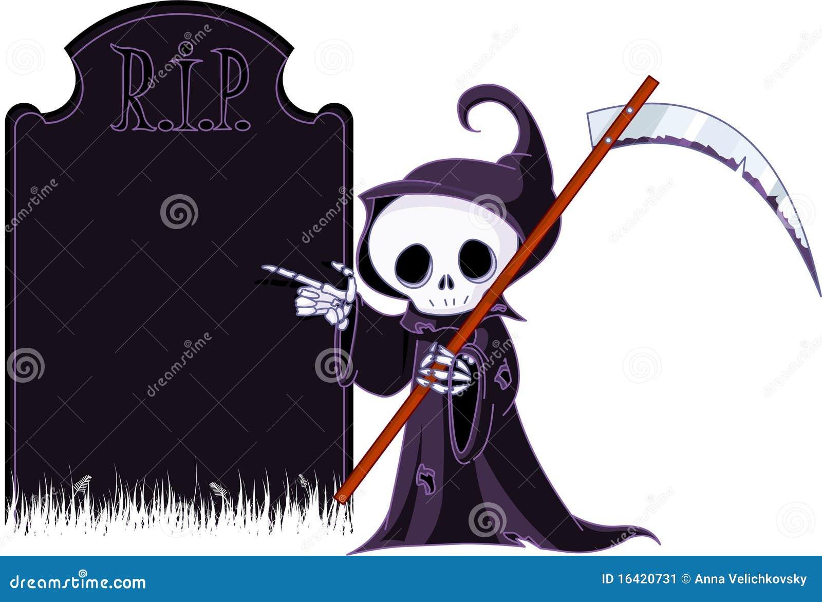 Moissonneuse sinistre de dessin anim indiquant la pierre tombale image stock image 16420731 - Pierre tombale dessin ...