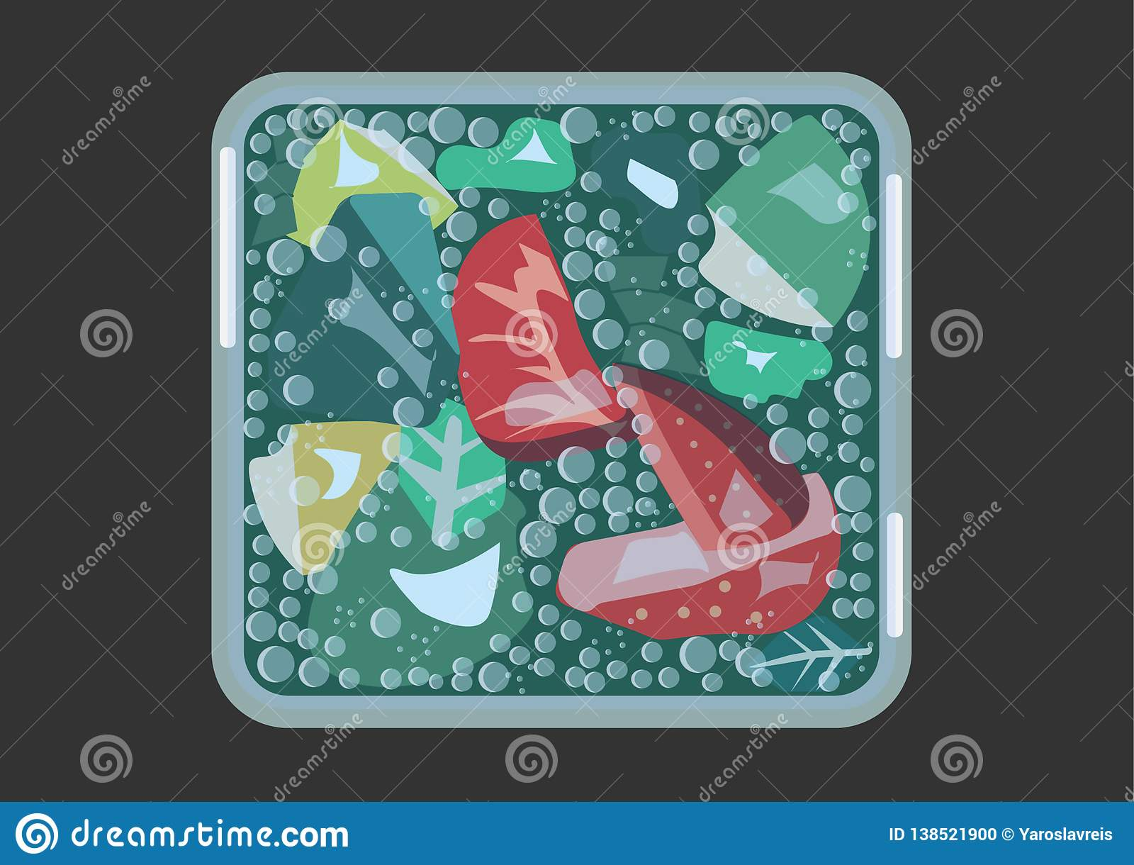 Mojito с клубниками в кубическом стекле с холодными векторными графиками тонов