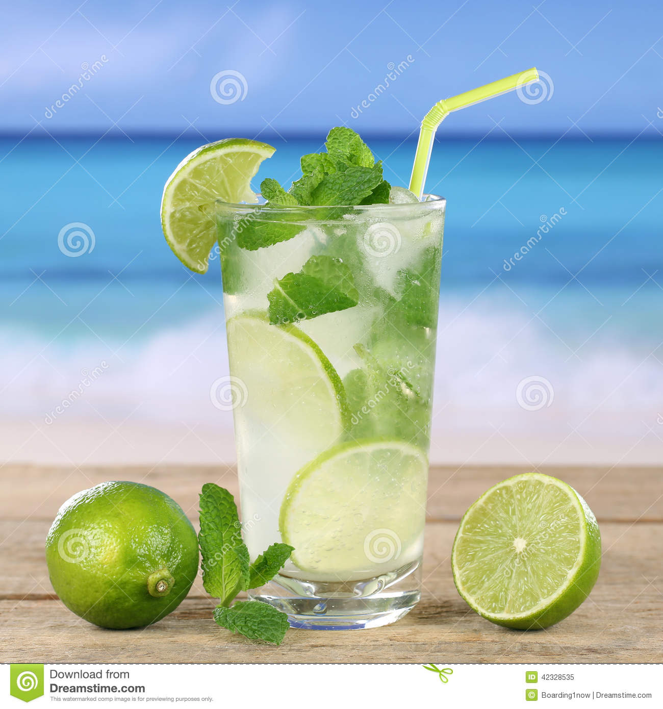 Mojito Or Caipirinha Cocktail Drink On The Beach Stock Photo - Image ...
