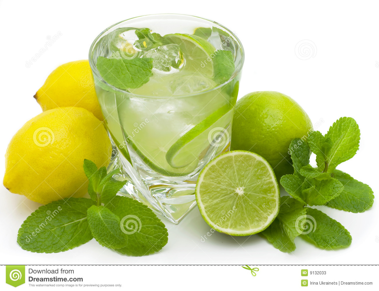 Mojito, limes and mint isolated on a white background.
