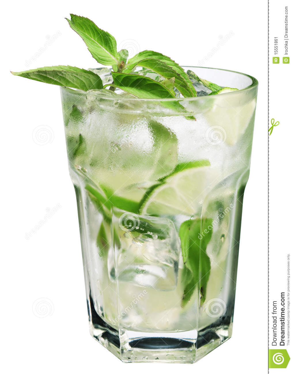 glass filled with a Mojito cocktail garnished with mint leaves ...