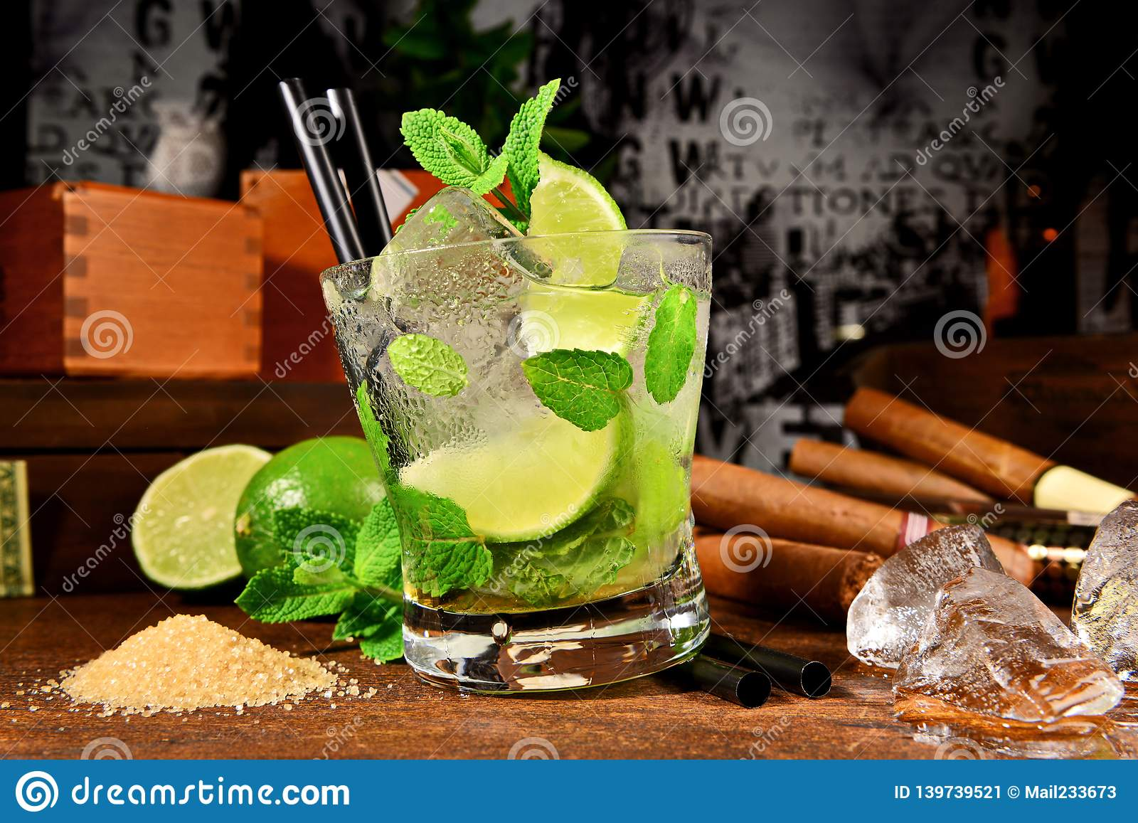 Mojito Cocktail with Cigars