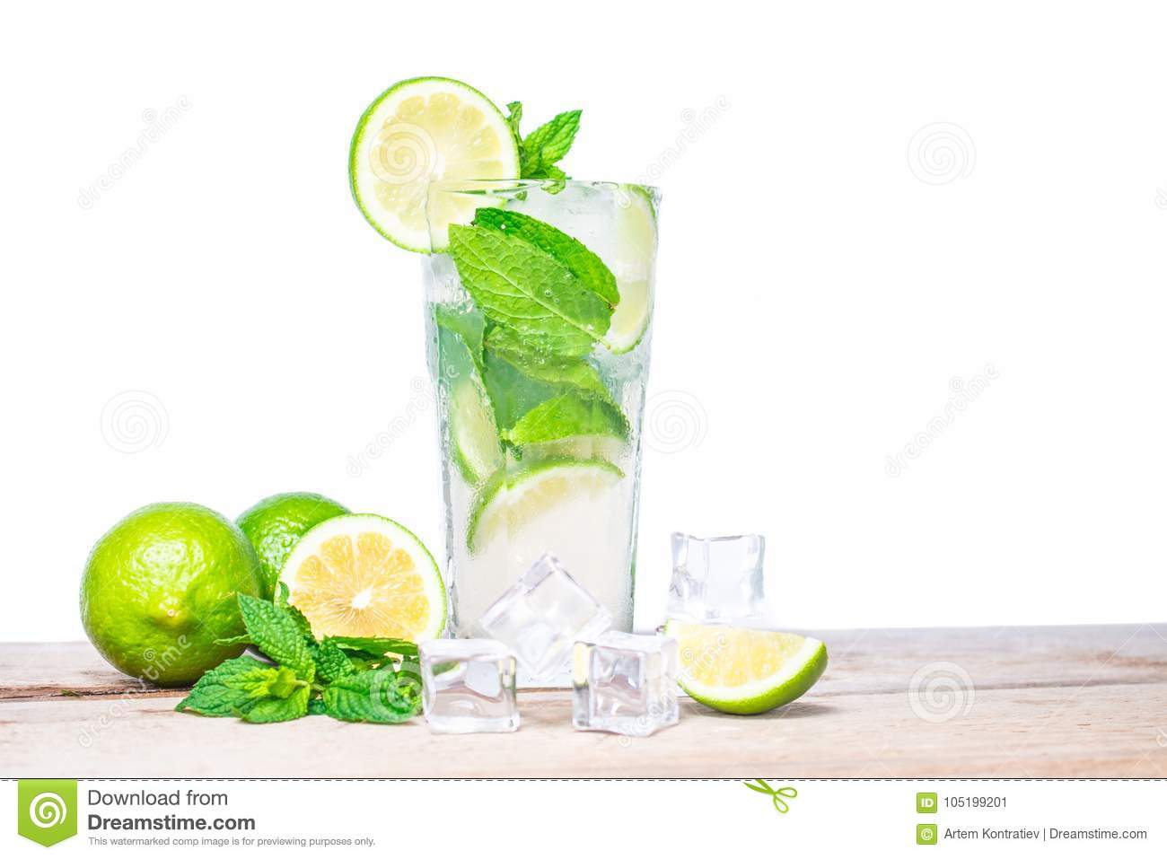 Mojito cocktail with fresh lime, Isolated on white background.