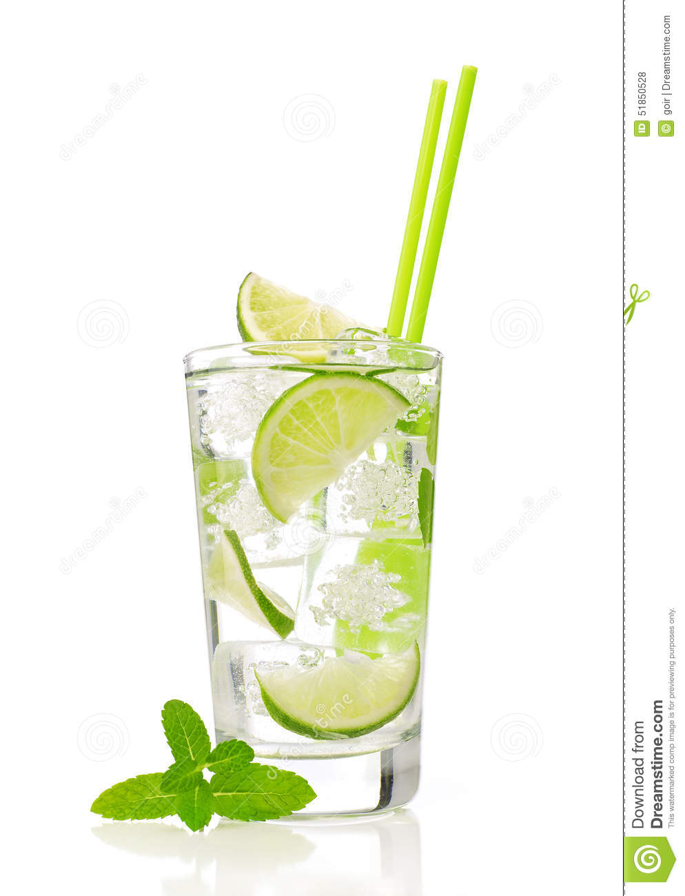 Mojito cocktail with lime and mint, isolated on white.