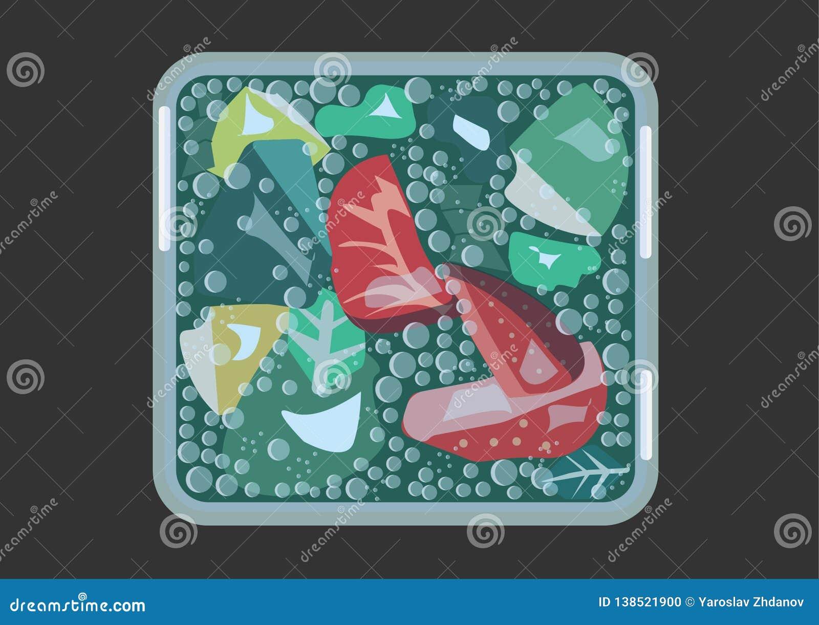Mojito com morangos em um vidro cúbico com os gráficos de vetor frios dos tons