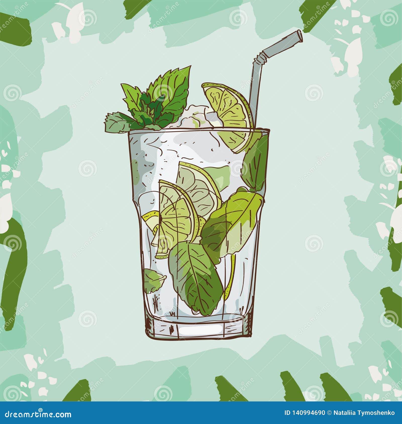 Mojito fresh Contemporary classic cocktail illustration. Alcoholic bar drink hand drawn vector. Pop art