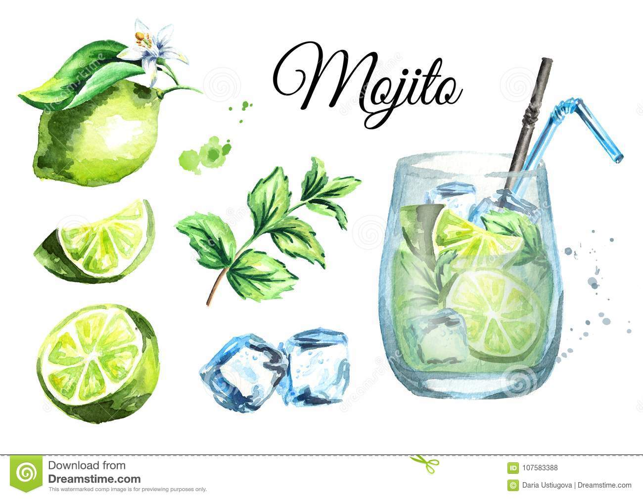Mojito set with Glass, ice cubes, lime and mint. Watercolor hand drawn illustration.