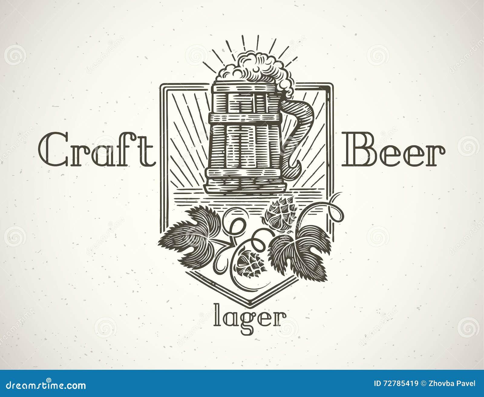 Mok bier in een grafische stijl
