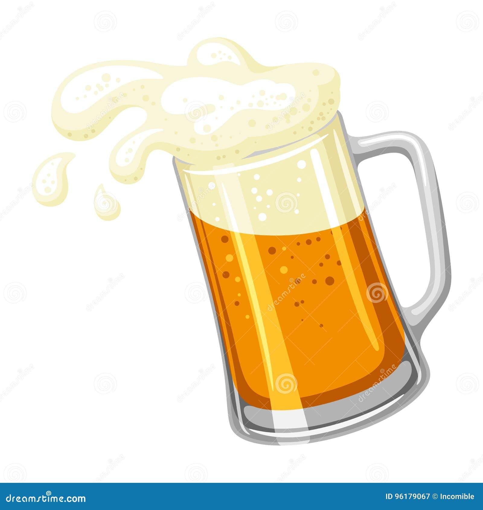Mok met licht bier en schuim Illustratie voor Oktoberfest