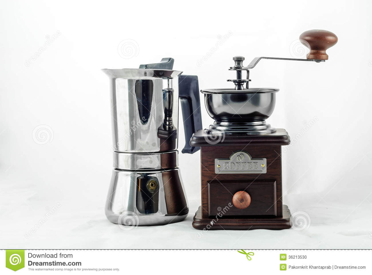 Princess Classic Coffee Maker And Grinder : Moka Pot With Grinder Stock Photo - Image: 36213530
