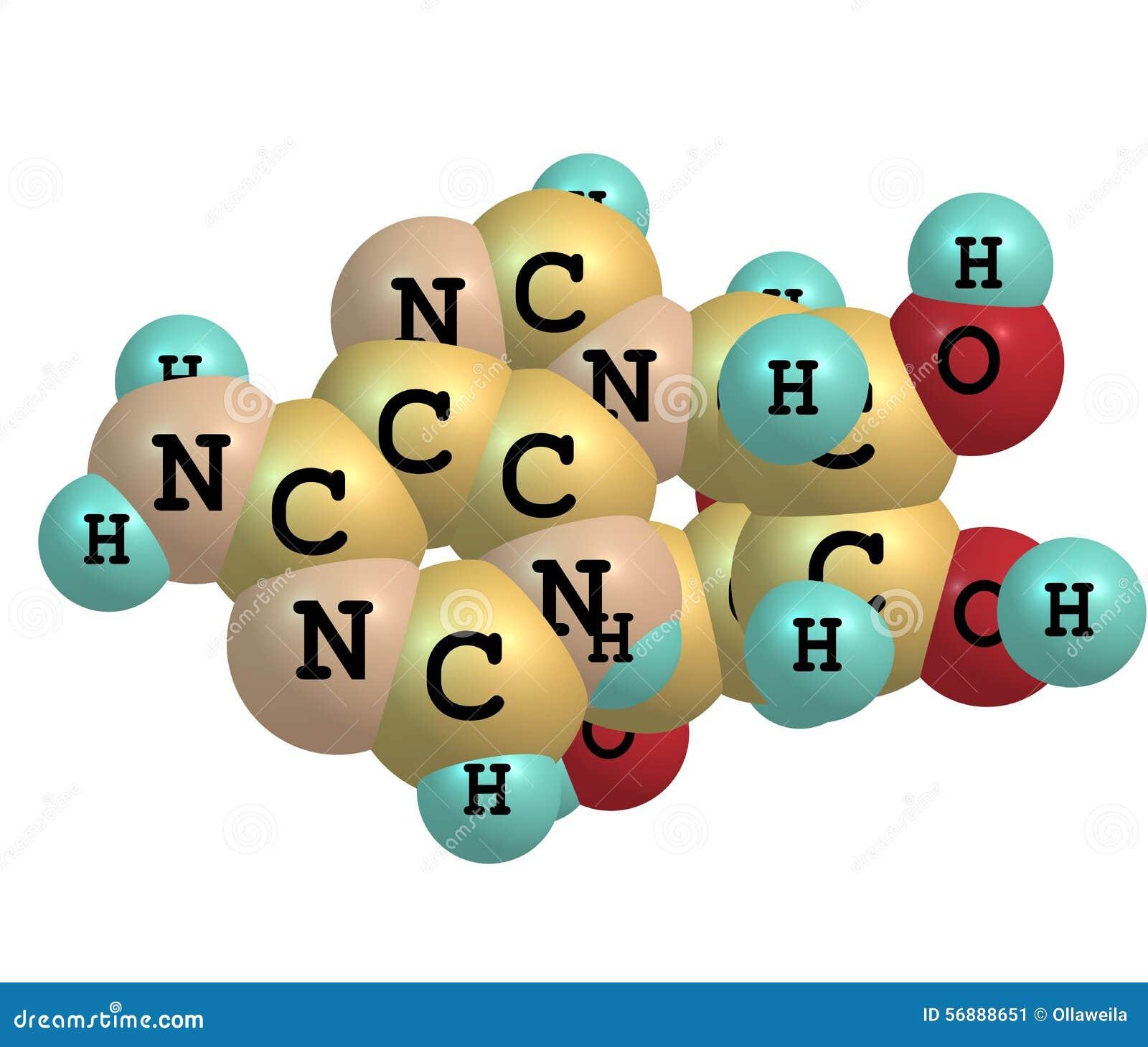 Molécula da adenosina isolada no branco