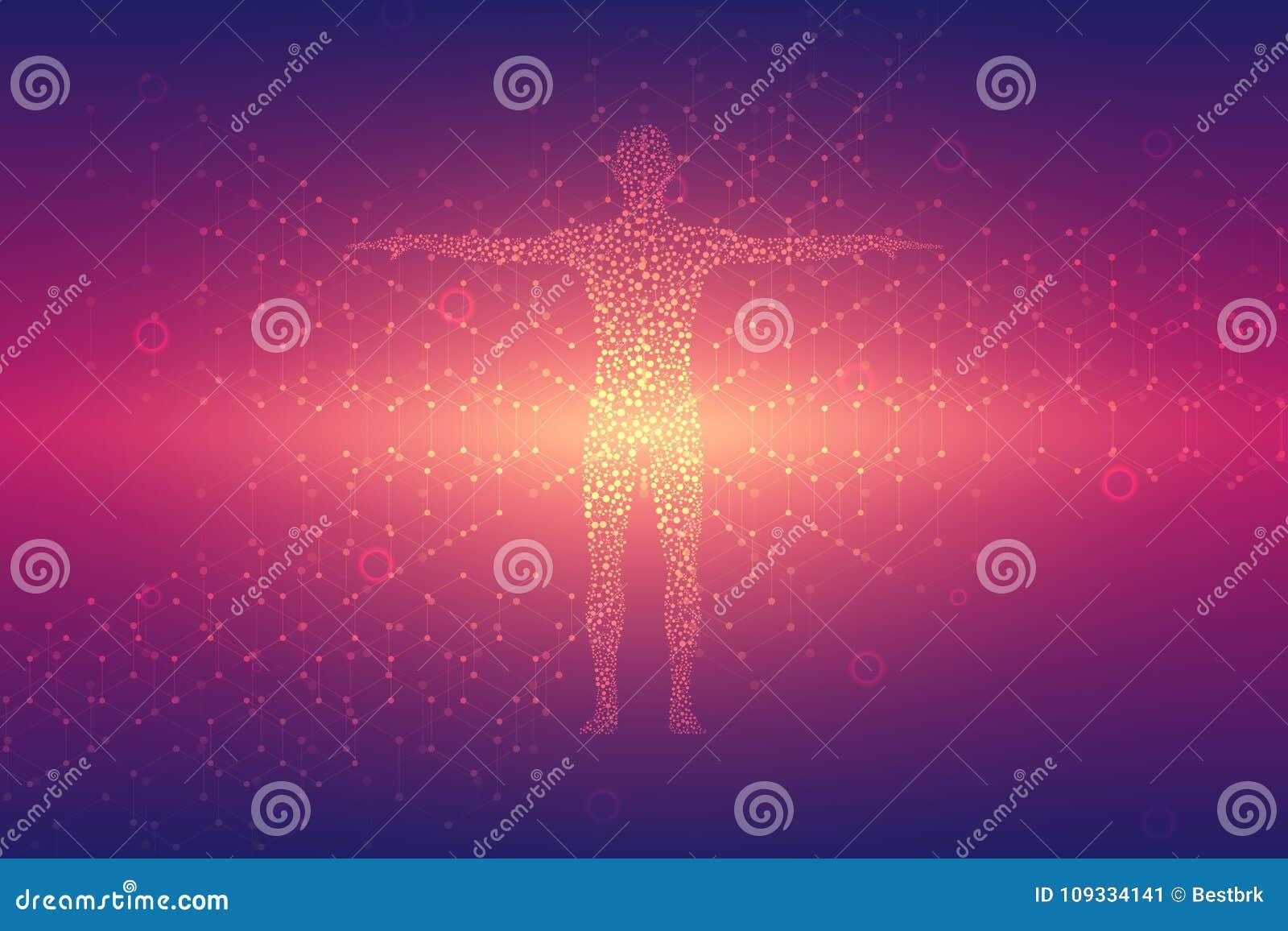 Molécula da estrutura do ADN e dos neurônios abstraia o fundo Medicina, ciência e tecnologia Ilustração do vetor para
