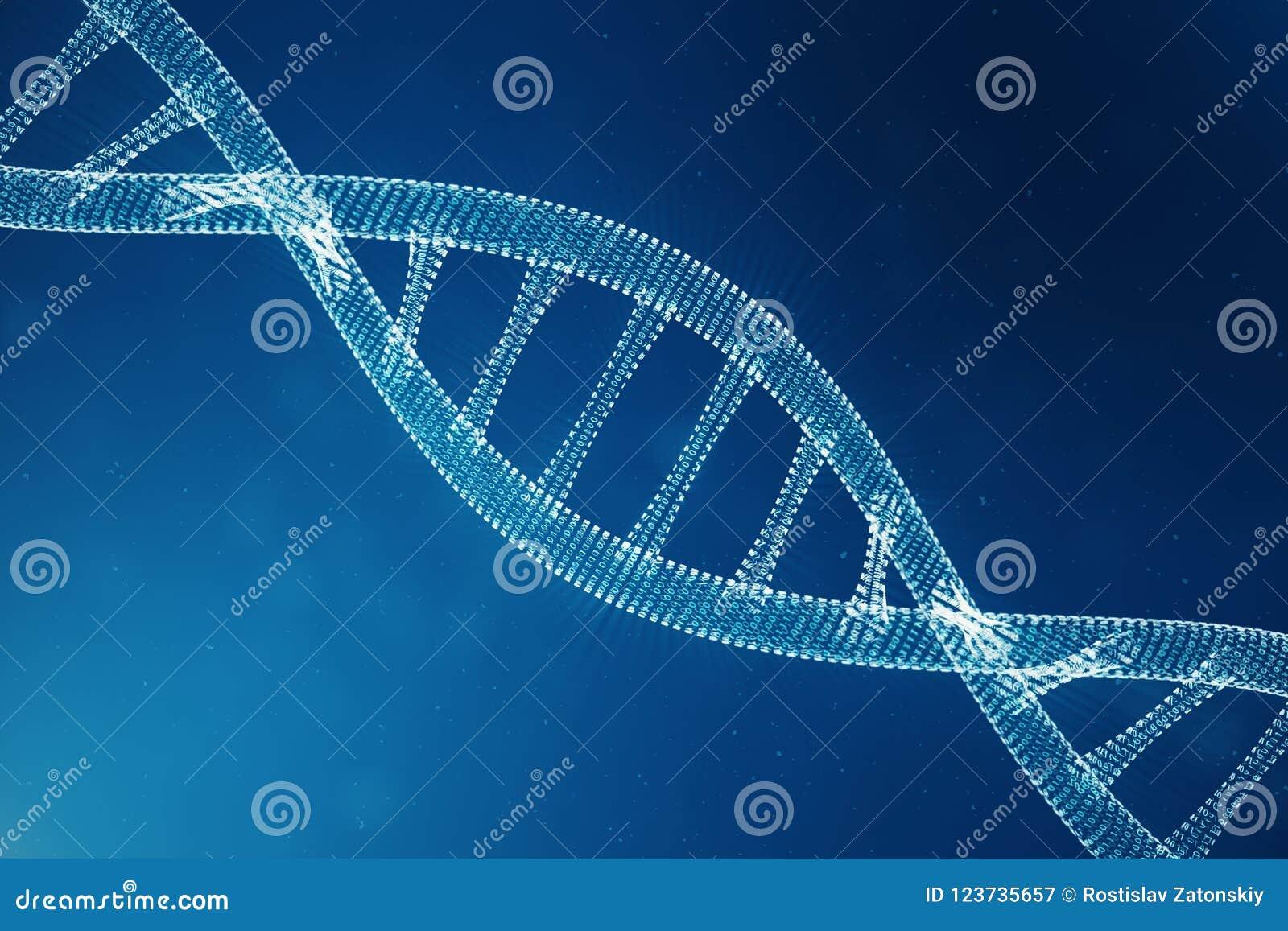 Molécula de la DNA de Digitaces, estructura Genoma humano del código binario del concepto Molécula de la DNA con los genes modifi