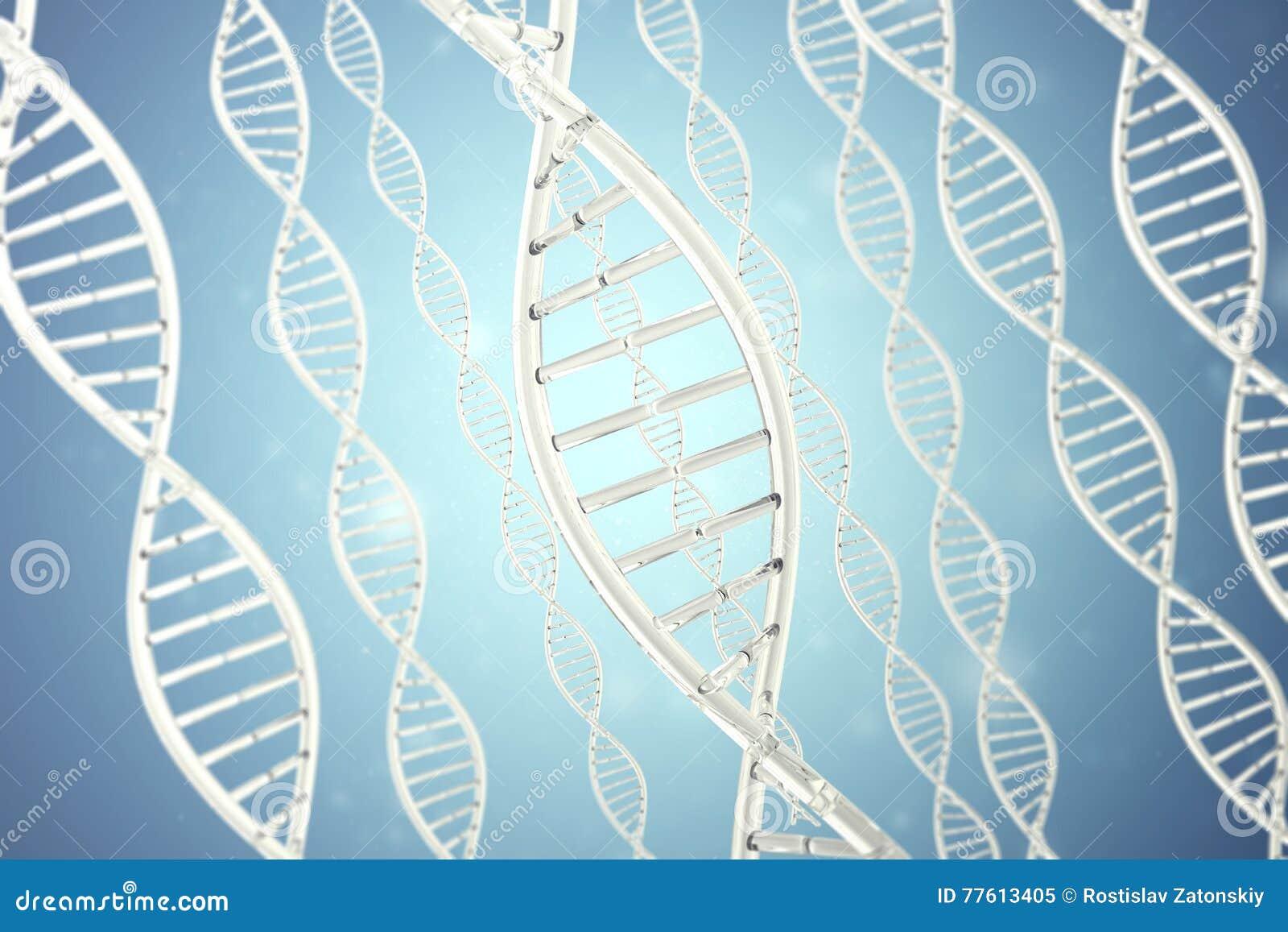 Molécula sintética, artificial do ADN, o conceito da inteligência artificial rendição 3d