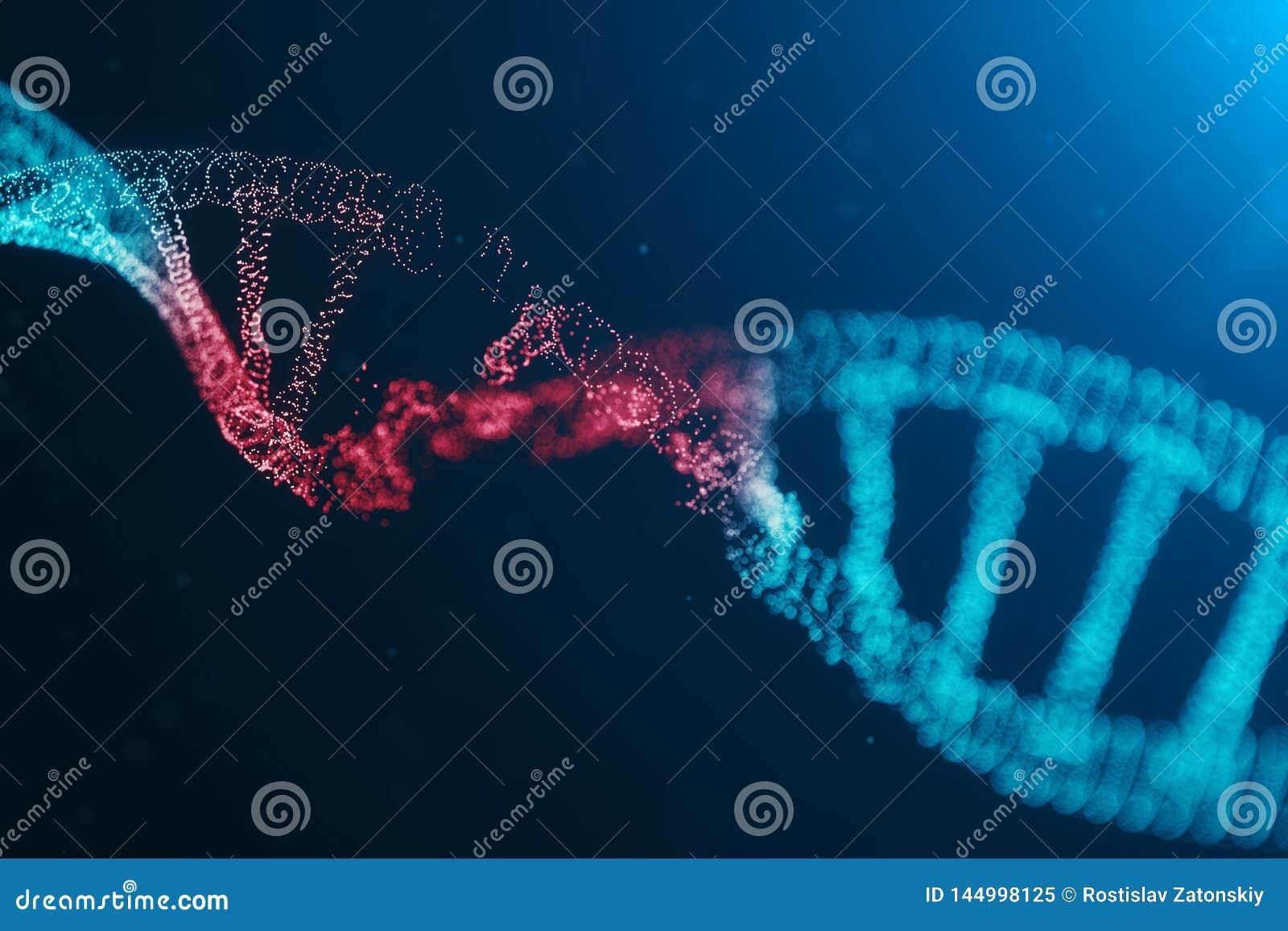 Molécule d ADN de virus de l illustration 3D, structure Génome humain détruit par concept de code Molécule d ADN de dommages