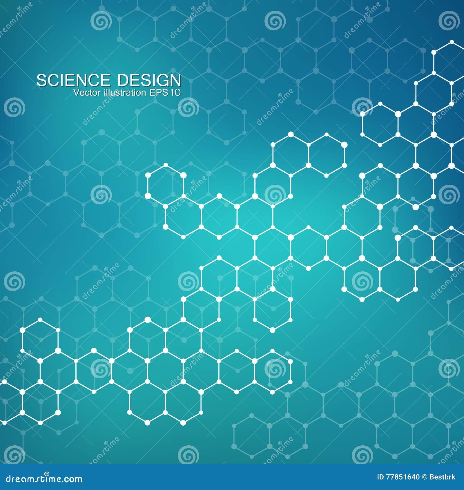 Molécule de structure de l ADN et des neurones Atome structurel composés chimiques Médecine, la science, concept de technologie