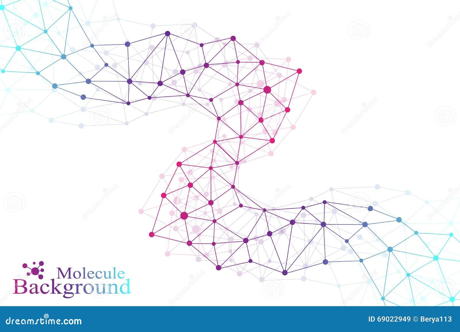 Molécule graphique colorée et communication de fond Lignes reliées avec des points Médecine, la science, conception de technologi