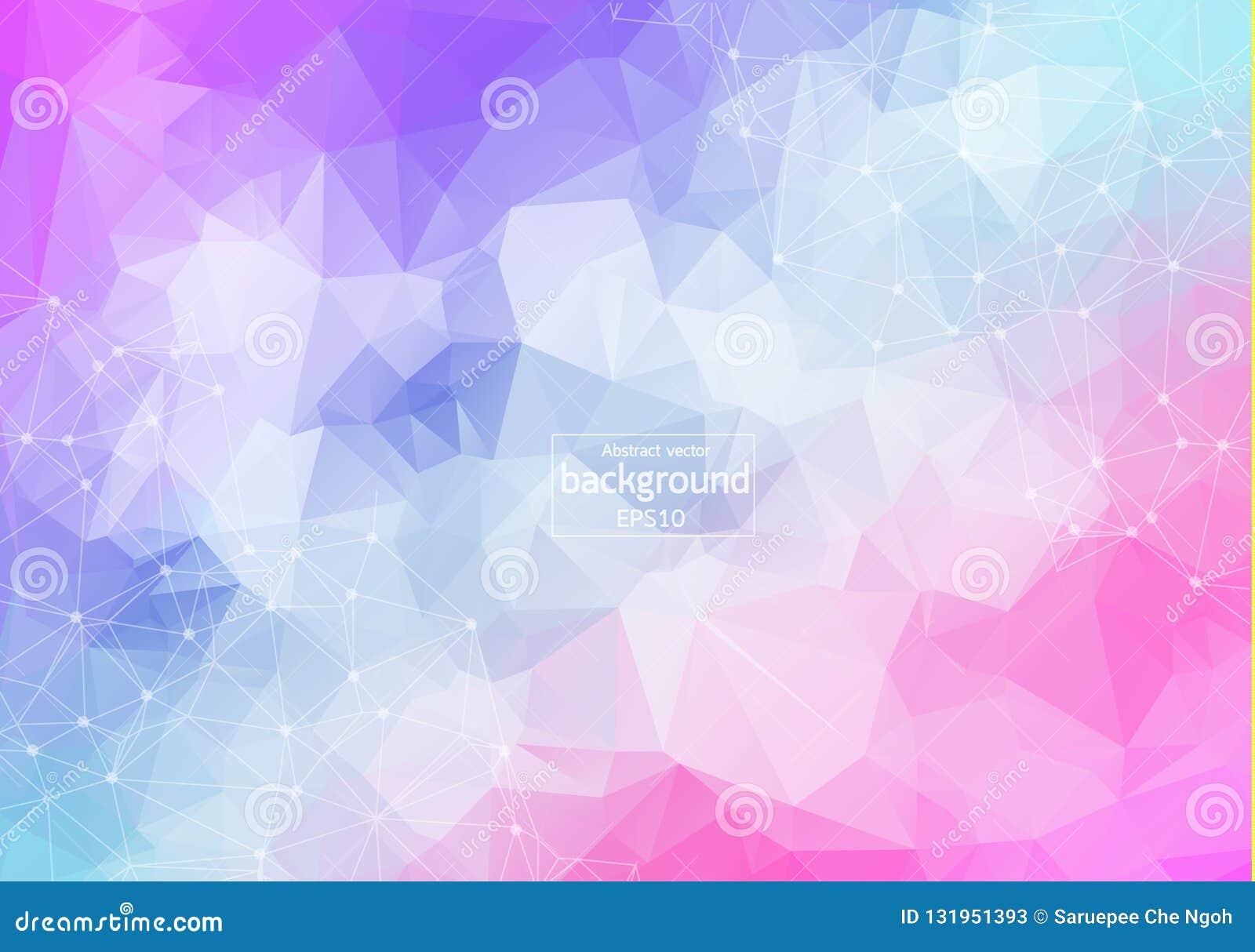 Molécule polygonale colorée géométrique et communication de fond Lignes reliées avec des points Fond de minimalisme Concept de t