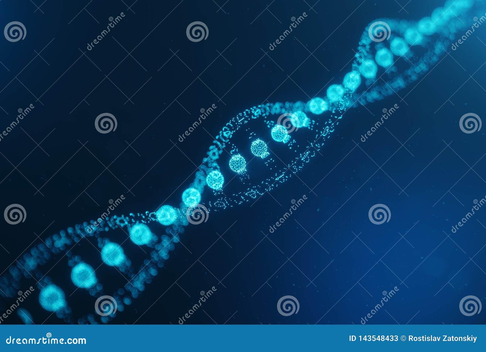 Mol?cula artificial do ADN do intelegence O ADN ? convertido em um c?digo digital Genoma do c?digo de Digitas Tecnologia abstrata