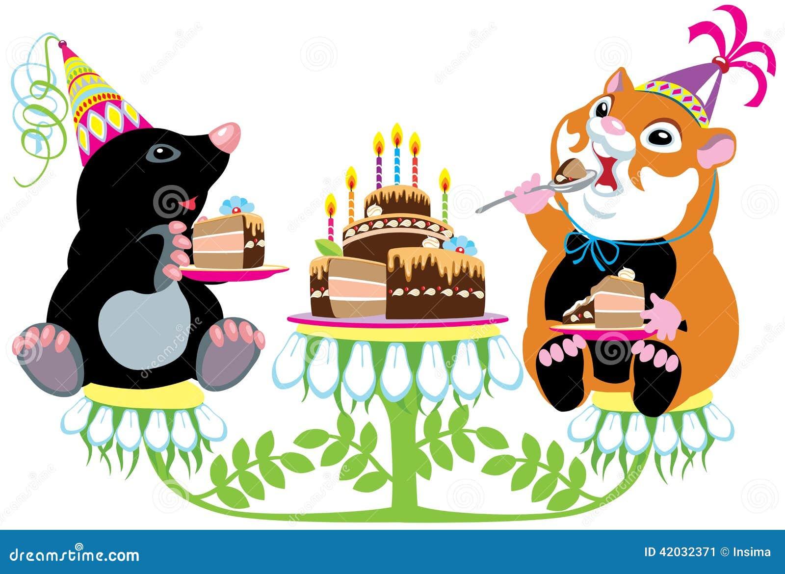Mol En Hamster Die Verjaardagscake Eten Vector Illustratie