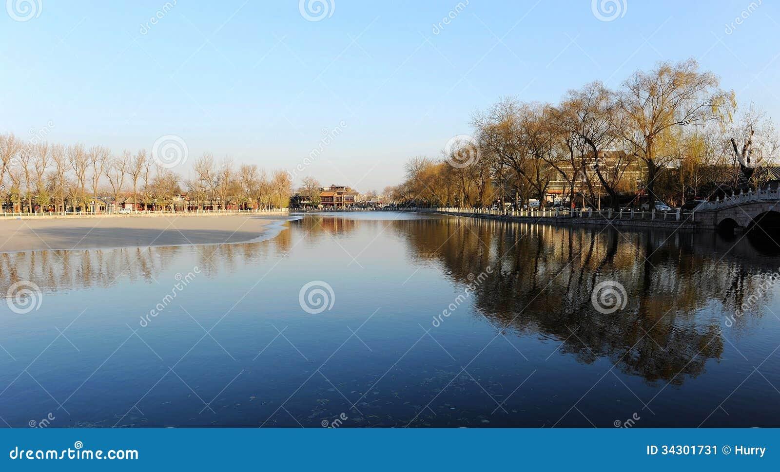 Mola adiantada no lago Houhai, Pequim